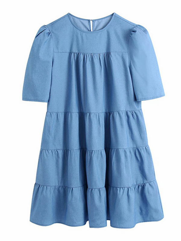 'Doris' Chambray Layered Dolly Dress