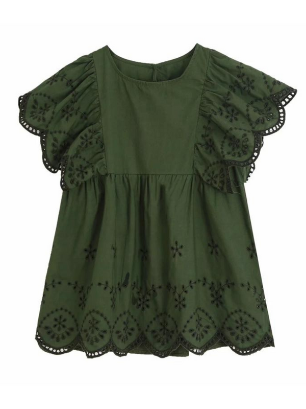 'Kinley' Embroidered Eyelet Ruffled Sleeves Top