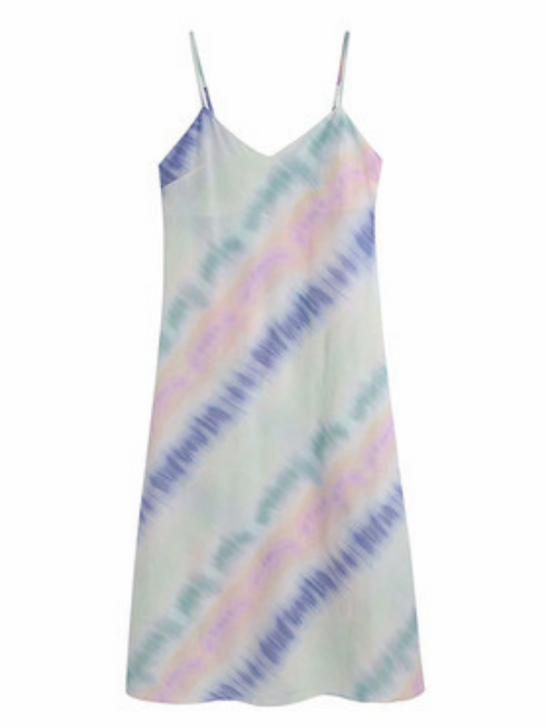 'Oli' Tie-dye V-neck Midi Dress