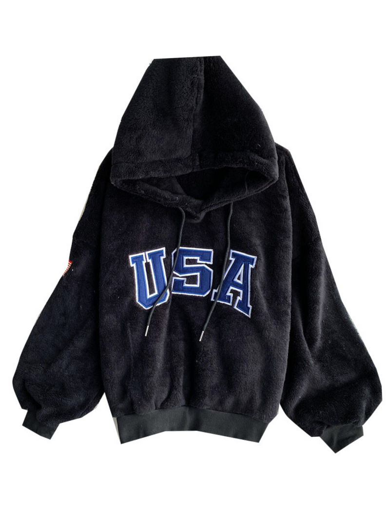 'Gloria' Fleece USA Flag Hoodie (3 Colors)