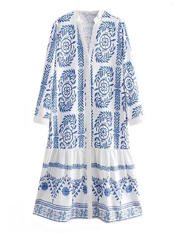 'Mon' Bohemian Embroidered  Button Down Dress