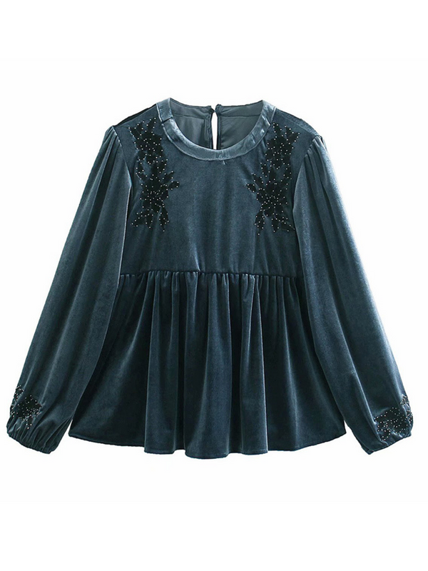 'Ginny' Velvet Embroidered Peplum Blouse