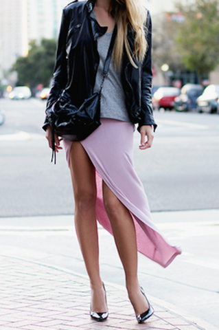 Side Slit Ruched Jersey Maxi Skirt - Goodnight Macaroon