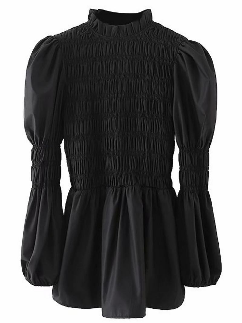 'Gigi' High-neck Flare Ruched Top