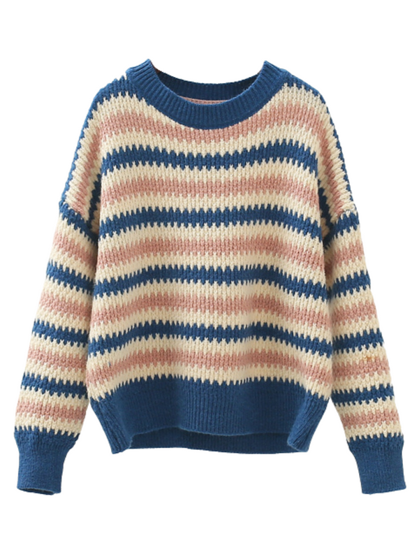 'Cayla' Fuzzy Striped Sweater (3 Colors)