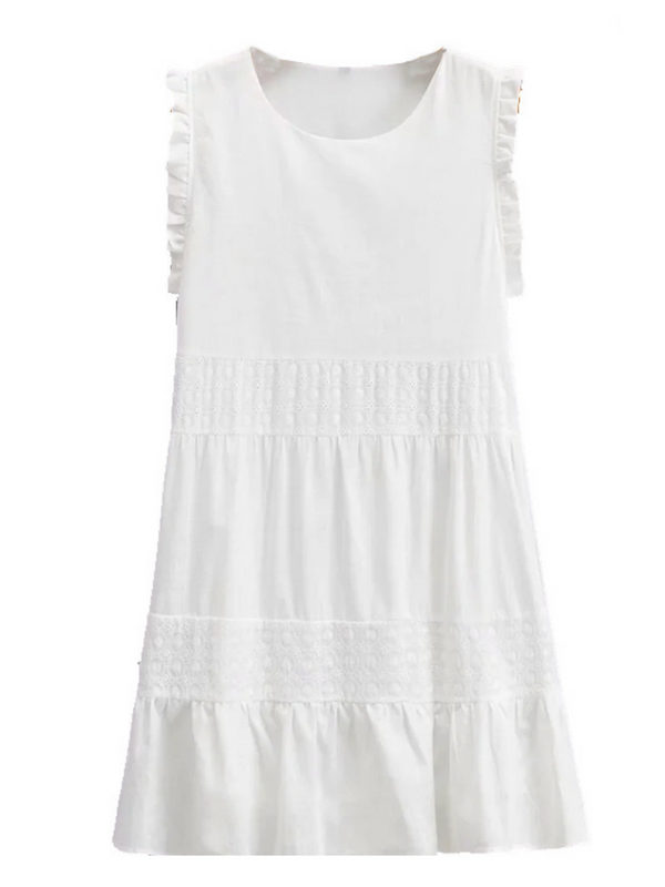 'Kate' Crochet Frilled Sleeveless Dress