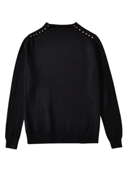 'Sobi' Buttoned Shoulder Sleeves Sweater (2 Colors)