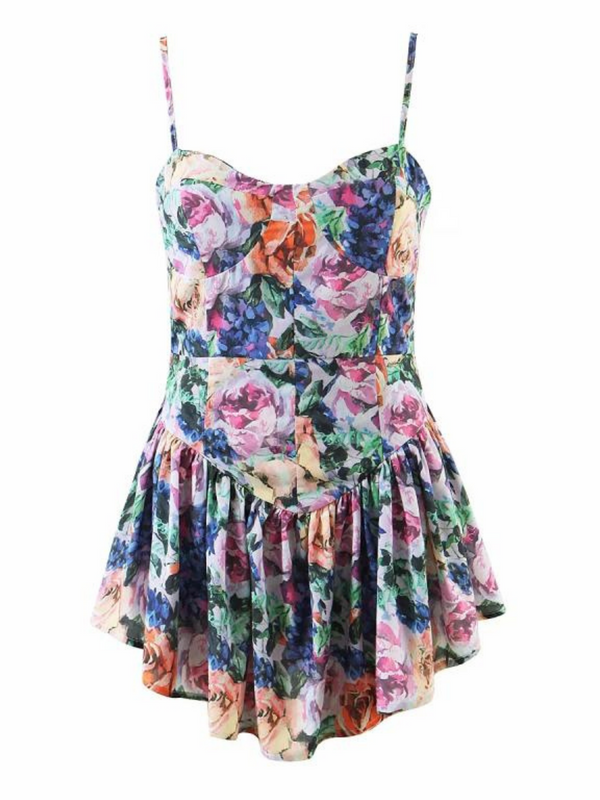 'Darcy' Floral Ruffled Cami Romper