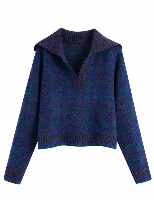 'Greta' Plaid Polo Collar Neck Sweater