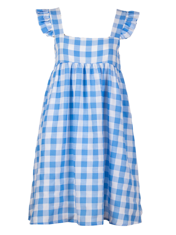 'Jojo' Ruffled Sleeves Gingham Dress