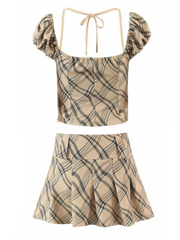 'Joanne' Plaid Pattern Top & Skirt Set