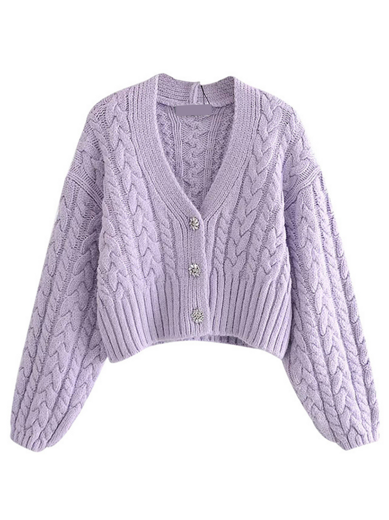 'Sharon' Cable-knit V-neck Cardigan