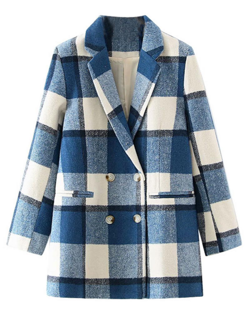 'Noel' Plaid Double-breasted Blazer Coat