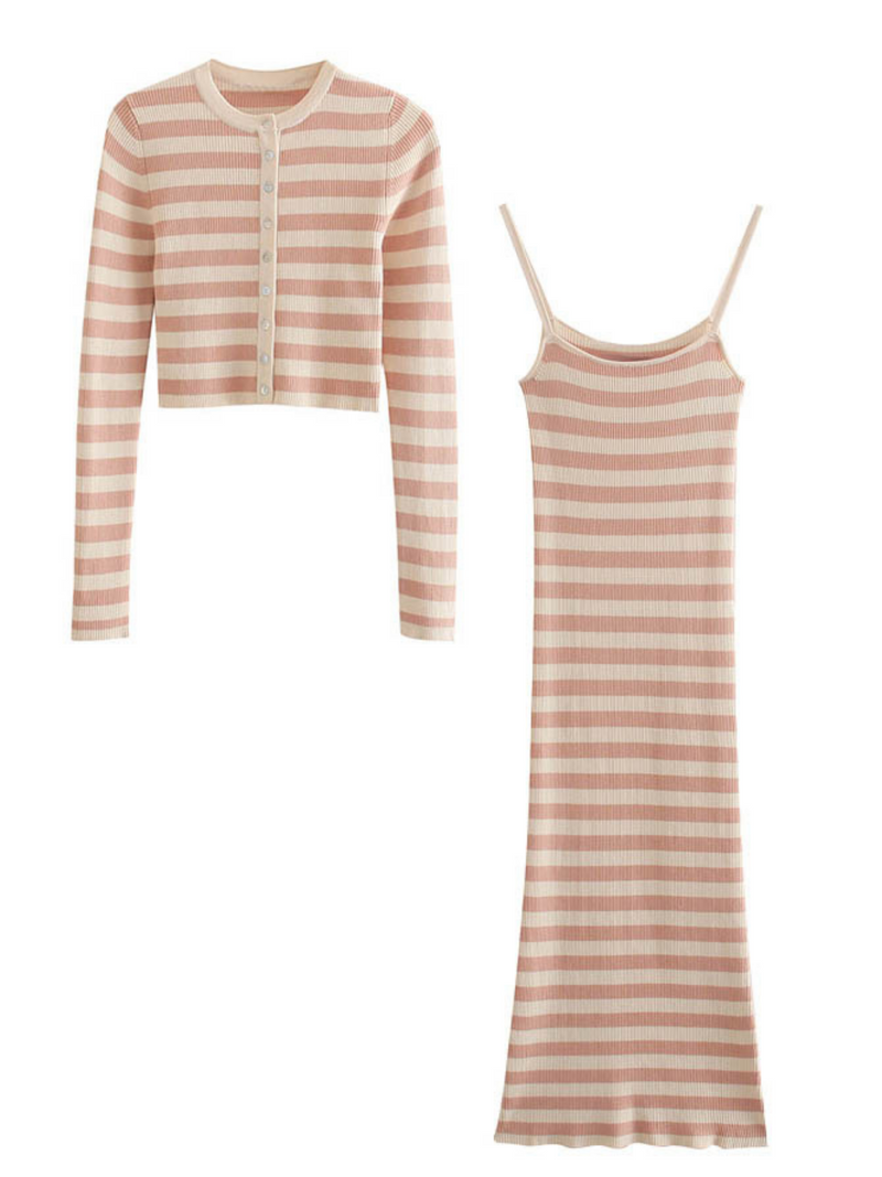 'Iris' Striped Ribbed Cardi & Dress Set