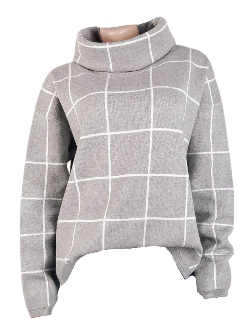 'Zola' Cowl Neck Checked Sweater (7 Colors)