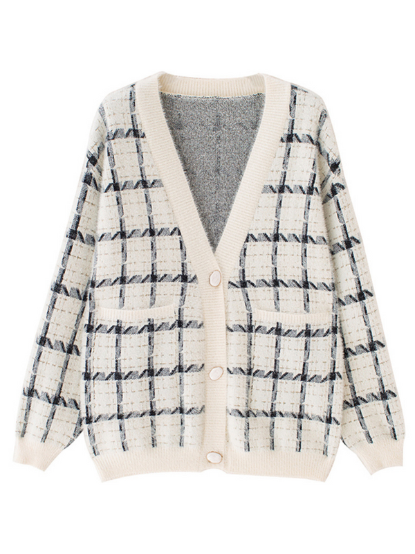 'Tayla' Checked Pattern Fluffy Cardigan