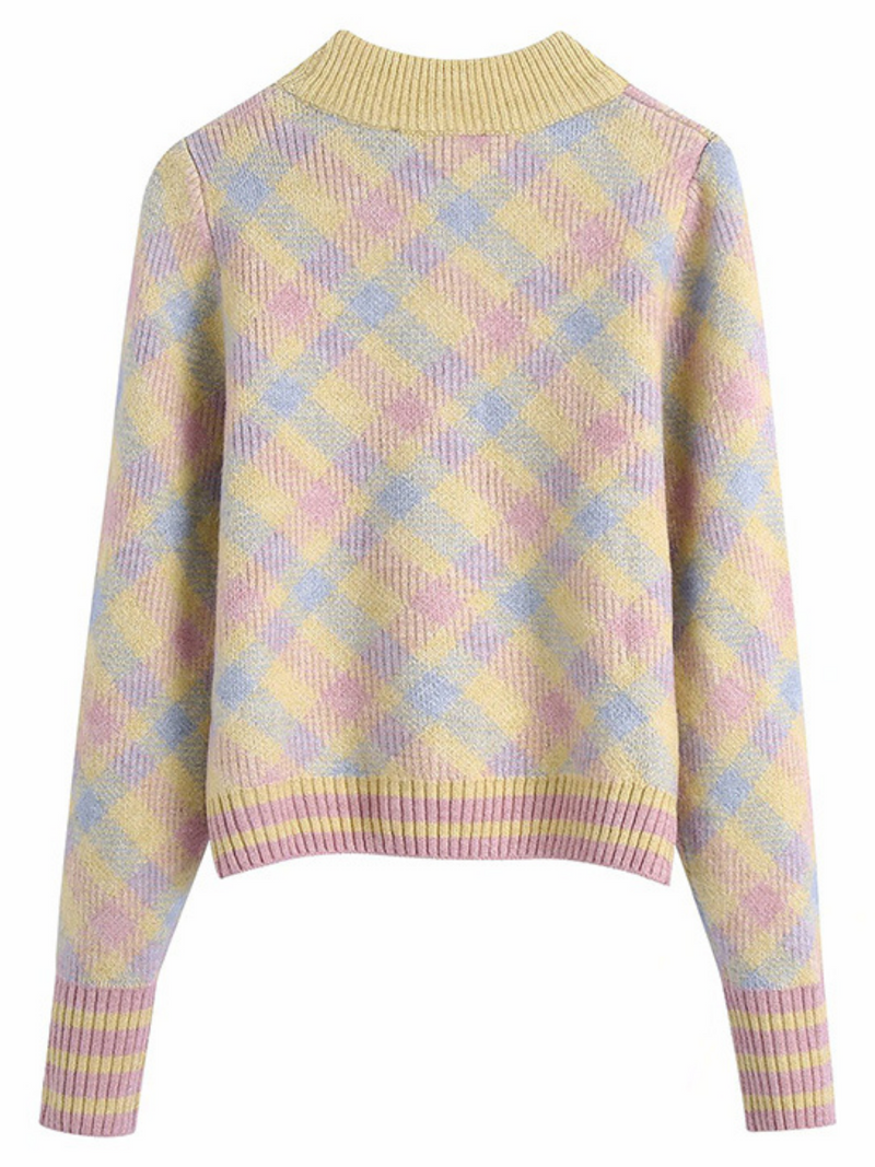 'Imani' Multi-color Checked Crewneck Sweater
