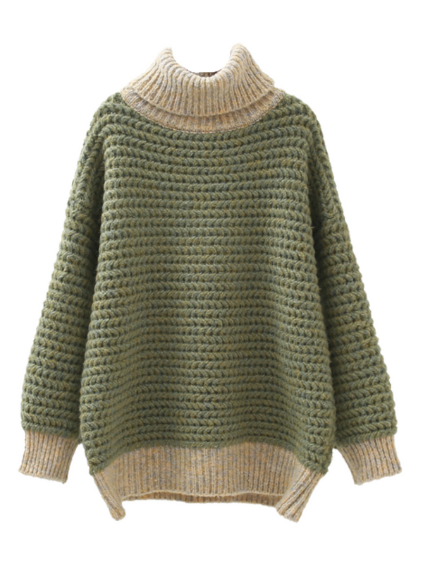 'Yami' Mixed Knits Tonal Turtleneck Sweater (2 Colors)