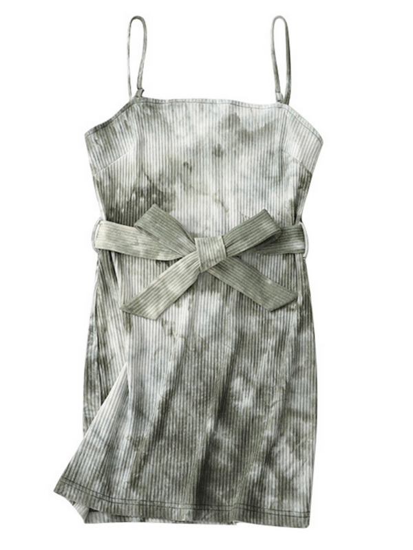'Sher' Tie-dye Ribbed Belted Cami Dress (2 Colors)