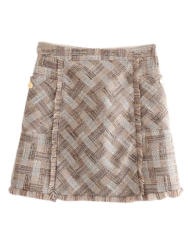 'Shirley' Tweed Raw Hem Mini Skirt