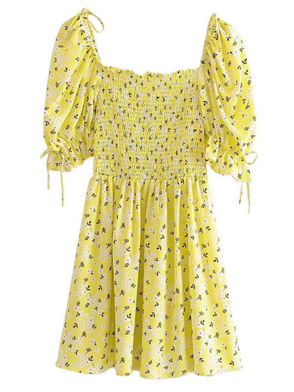 'Fiona' Square-neck Floral Ruched Dress