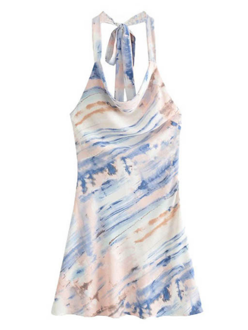 'Maddy' Tied Neck Marble Print Dress