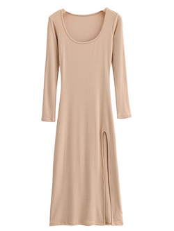 'Lily' Basic Ribbed Side Slit Dress (4 Colors)