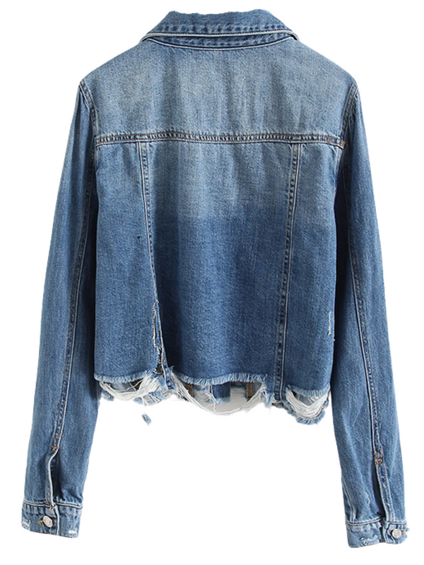 'Yvonne' Distressed Denim Jacket