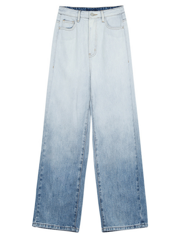 'Christine' Straight-leg Ombre Denim Jeans