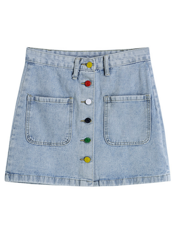 'Suzu' Rainbow Buttoned Denim Skirt