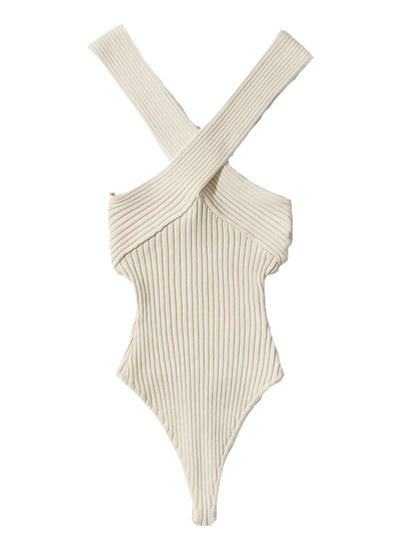 'Ervina' Cross Neck Ribbed Bodysuit (4 Colors)