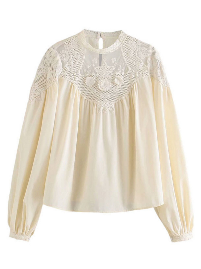 'Jasmin' Lace Pleated Crochet Blouse