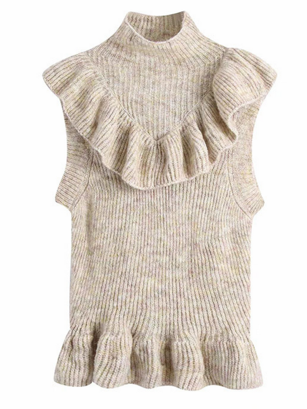 'Jess' Ruffled Peplum Sleeveless Sweater