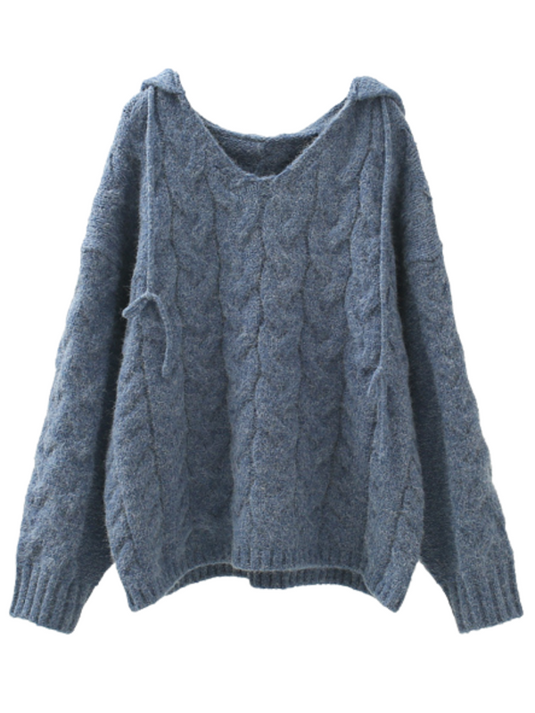 'Ramie' Cable-knit Hooded Sweater (4 Colors)