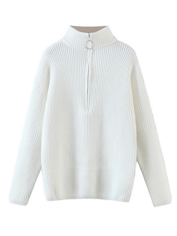 'Selina' Half-zip High-neck Ribbed Sweater