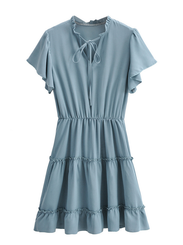 'Puff' Tied Ruffled Sleeves Dress