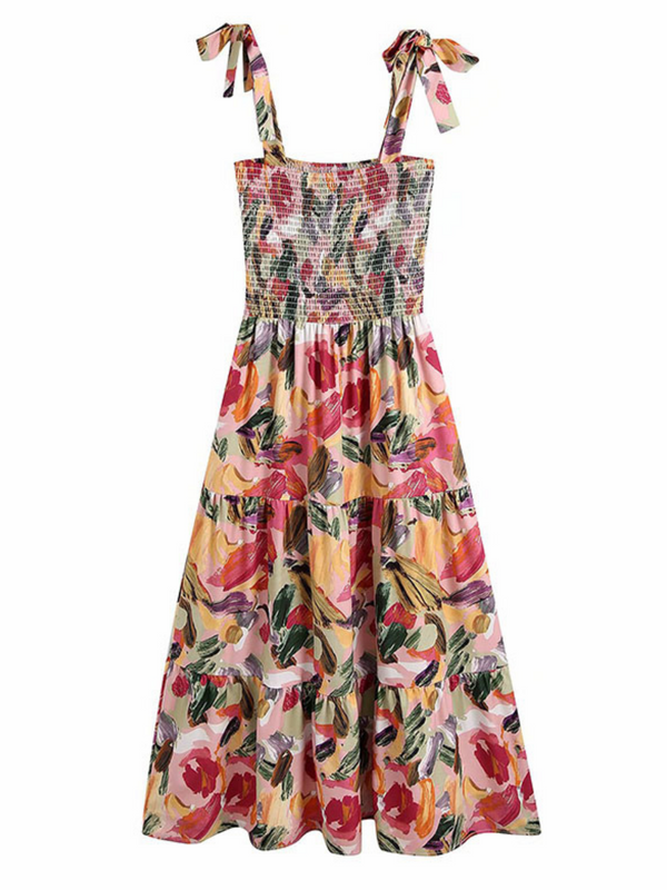 'Lexis' Paint Brush Tied Strap Ruched Maxi Dress