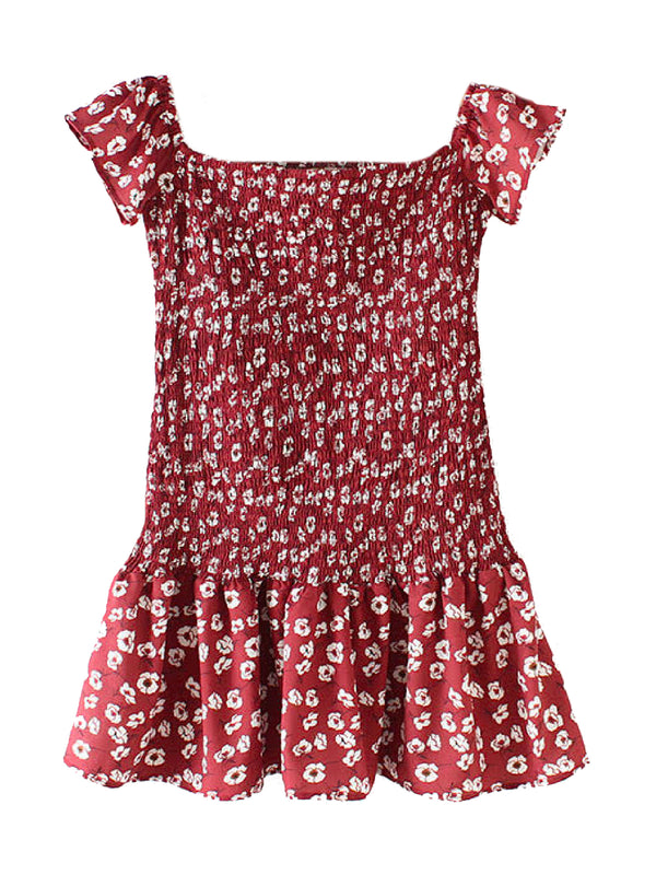 'Alyssa' Floral Ruched Off The Shoulder Mini Dress