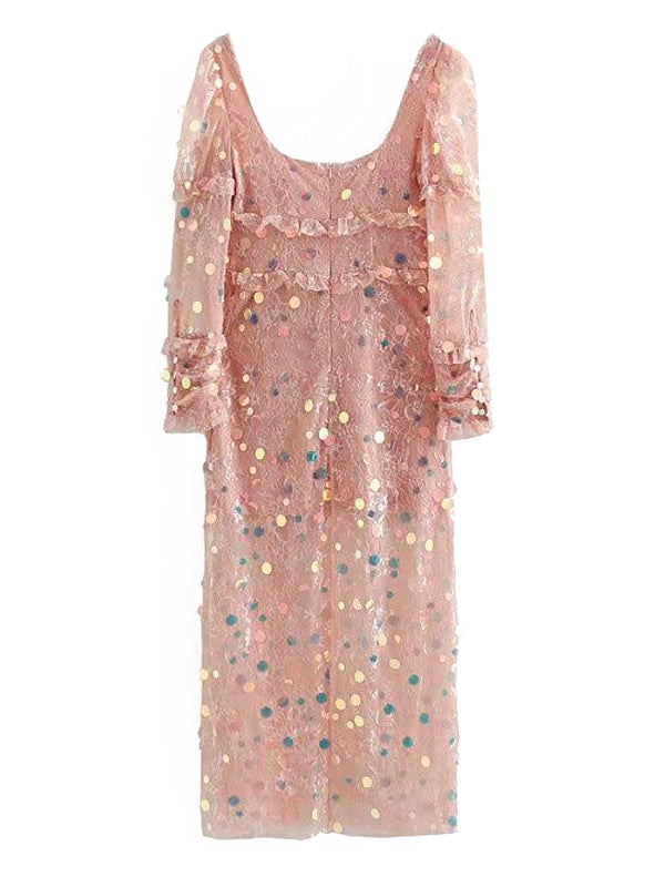 'Evelyn' Sequined Front Tied Midi Dress