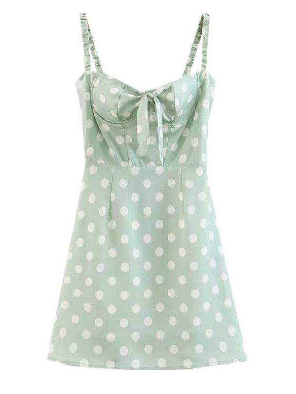 'Jessica' Polka Dot Tied Front Strapped Mini Dress