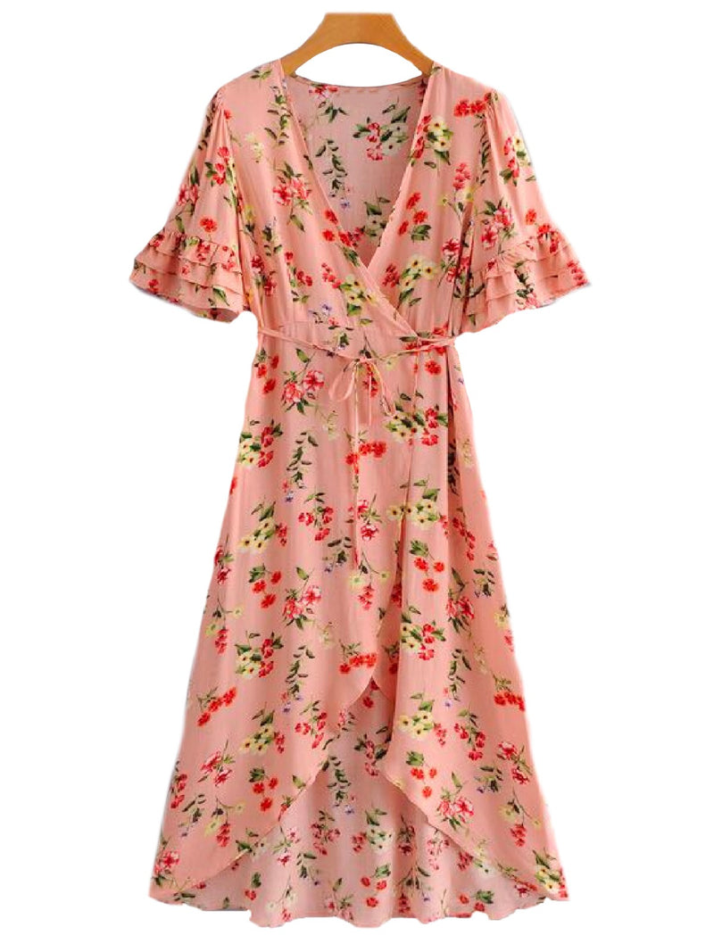 'Venus' Pink Floral Waist Tied Maxi Wrap Dress