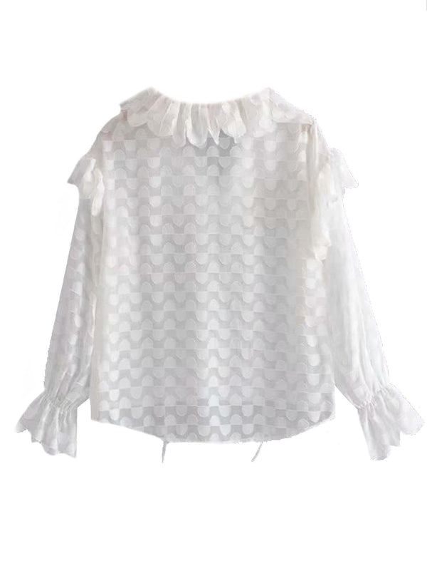 'Addison' Ruffled Sheer Blouse