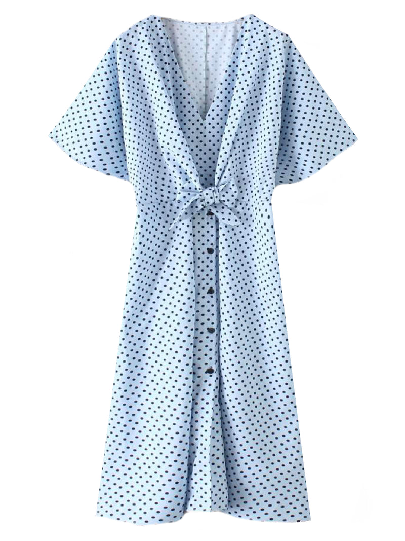'Daniela' Polka Dot Button Front Midi Dress
