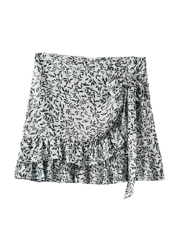 'Effie' Leaf Print Tied Ruffled Mini Skirt