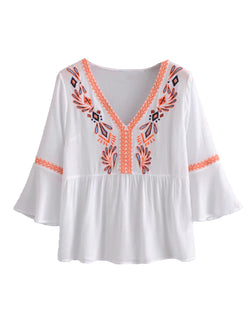 'Frances' Bohemian Embroidery Flared Blouse