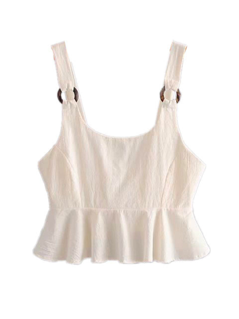 'Mya' Back Tied Ruffled Strap Top