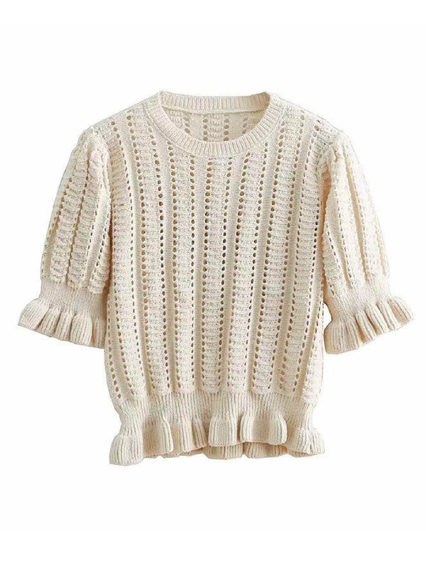 'Audrey' Ruffled Knit Top