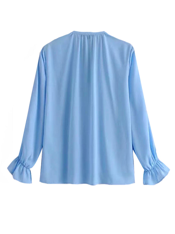 'Gabriella' Ruffled V-Neck Blouse