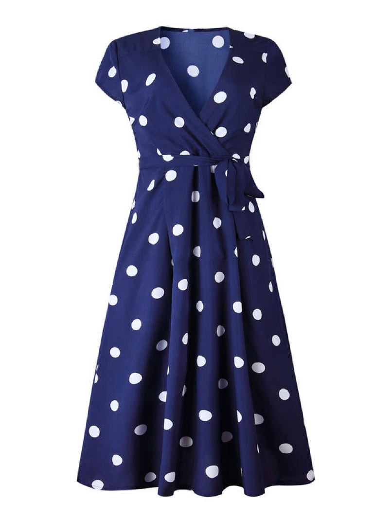 'Josephine' Polka Dot Front Tied Midi Dress
