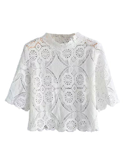 'Amara' Lace Neck Eyelet Top